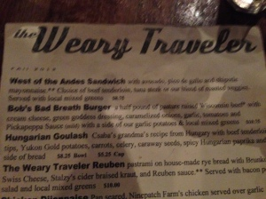 weary traveler menu