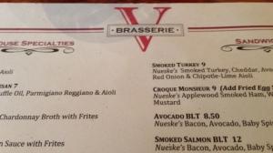brasserie menu