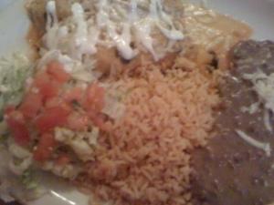 Taqueria guadalajara enchiladas, rice, beans