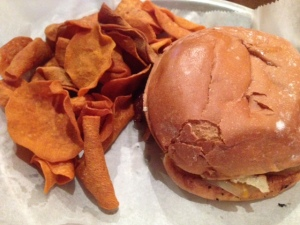 AJ Bomber's MKE burger, sweet potato chips