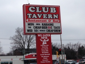 club tavern sign