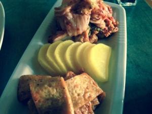 Sol's banchan: fish cakes, pickled yellow radish, kimchi