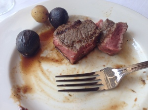 Rare sirloin (I was so excited to try the steak at this new steakhouse, this was all that was left when I remembered to take a picture)