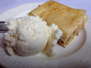 University Club baklava, ice cream