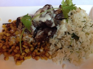 University Club beef kabobs, grilled corn, cilantro-lime rice