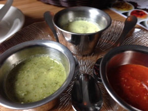 Chutneys (from left: cilantro and jalapeno, cucumber/mint/apple yogurt dressing, tomato and pimento)