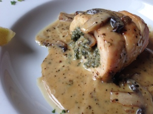 Stuffed chicken with cream sauce