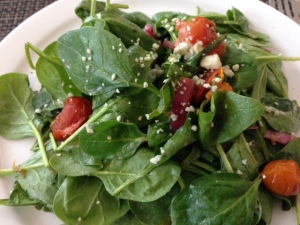 Steenbock's spinach salad with warm bacon dressing