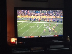 "Watching the Packers game and I ""lit a fire."""