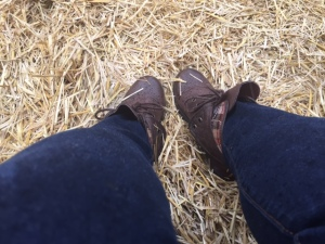 Cute boots for hayride in the rain!