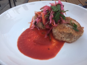 Blue corn crab cakes